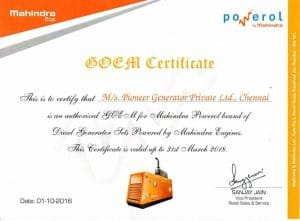 certificate Mahindra Powerol OEM